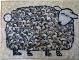 """The Sheep, 36 x 48."""" SOLD to Mahau Ma with a donation to the US Humane Society."""