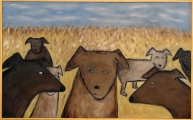 "Dogs in Field, 30 x 48.""  SOLD to Graham Wagner with a donation to the NRDC."