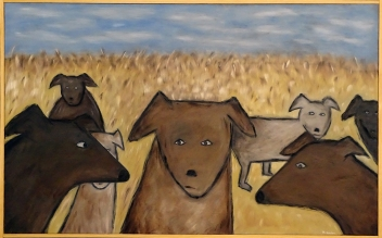 """Dogs in Field, 30 x 48."""" SOLD to Graham Wagner with a donation to the NRDC."""