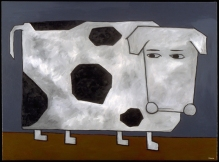 """Cow Thinking About His Life, 30 x 40.""""SOLD at Lounge, SF."""