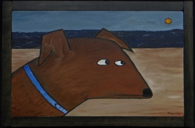 """Dog by Beach, 8 x 12."""" SOLD to Monica Welsh with a donation to Muttville for Senior Dogs."""