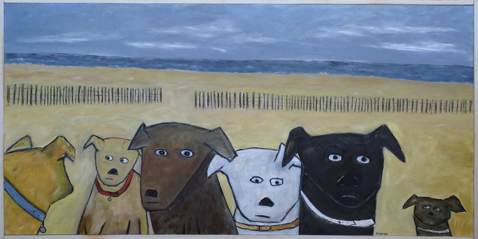 """Dogs on Beach, 24 x 48.""""SOLD to John Levenstein with a donation to Pets for Vets."""