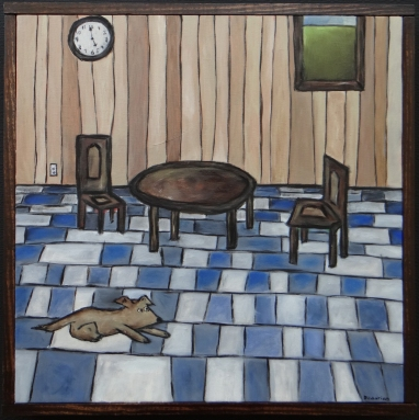 """Where is Everyone, 16 x 16.""""SOLD to Dave Newberg with a donation to Dogs Without Borders."""
