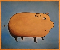 """The Pig, 16 x 20."""" SOLD to Griffin Taylor with a donation to Mercy for Animals."""