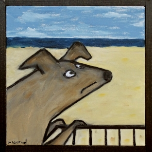 """Dog on Fence, 10 x 10."""" SOLD to Alex Hodara with a donation to NY Humane Society."""