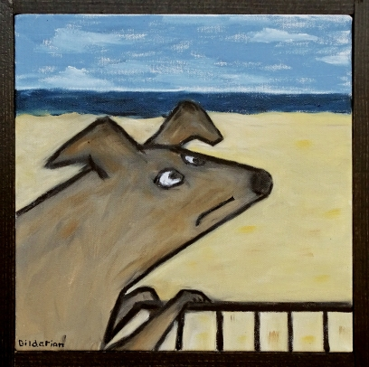 "Dog on Fence, 10 x 10."" SOLD to Alex Hodara with a donation to NY Humane Society."