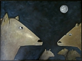 """Coyote Pups, 30 x 40.""""SOLD to Adam Reed with a donation to Wildlife Rescue and Rehabilitation."""