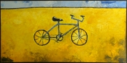 "Blue Bicycle, 24 x 48."" SOLD to Mahau Ma with a donation made to Rainforest Action Network."