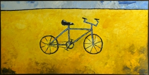 """Blue Bicycle, 24 x 48.""""SOLD to Mahau Ma with a donation made to Rainforest Action Network."""