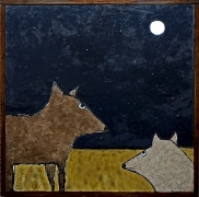 Two Coyotes. SOLD to Missi Pyle with a donation to Vital Ground of Montana.