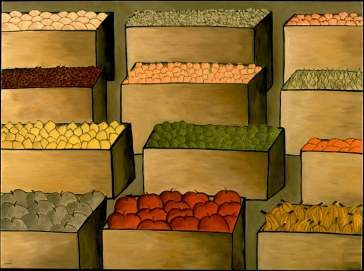 """Boxes of Fruit, 30 x 40.""""SOLD at Lounge, SF."""