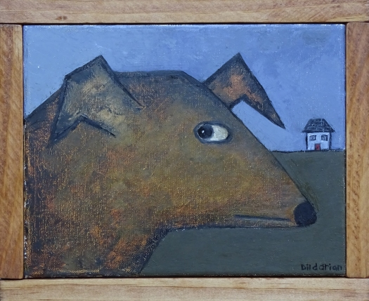 """Dog Taking a Stroll, 8 x 10.""""SOLD to Jane Westfall with a donation to Much Love Animal Rescue."""