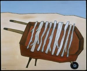 """Wheelbarrow With Sticks, 16 x 20.""""SOLD to Linda Fifelski."""