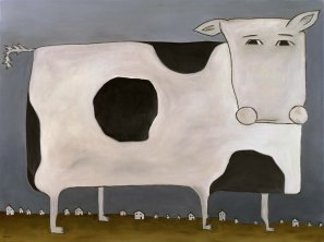 """Huge Cow, 30 x 40."""" SOLD at Lounge, SF."""