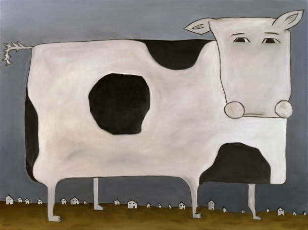 "Huge Cow, 30 x 40.""  SOLD at Lounge, SF."