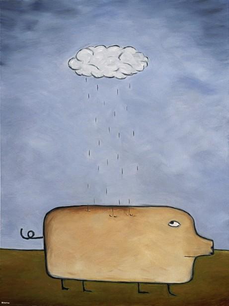 "Pig in Rain, 20 x 30."" SOLD to Mahau Ma."
