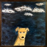 "Dog at Night, 20 x 20."" SOLD to Brian Hurley with a donation to Audubon Canyon Ranch."