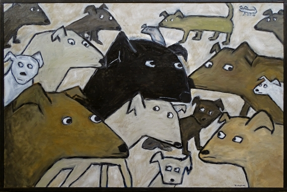 """Too Many Dogs, 24 x 36."""" SOLD to Jesse Urjil with a donation to Austin Pets Alive."""