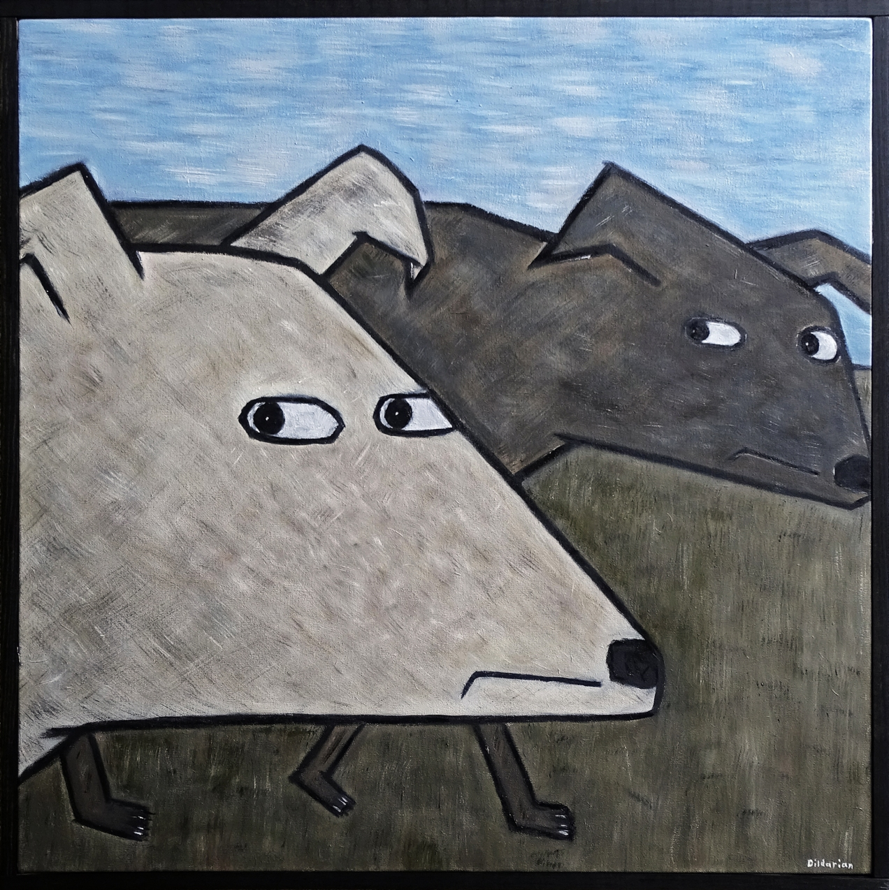 Two Dogs 24 x 24