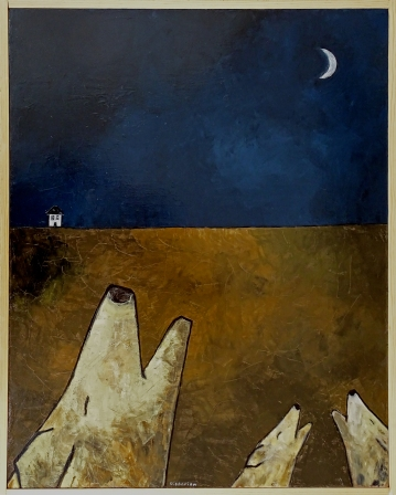 """Coyotes Howling, 24 x 30."""" SOLD to Nicolas Dubois with a donation made to Refuge Groingroin (snort snort in French)."""