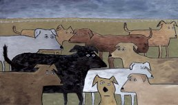 """Lost Dogs, 30 x 48,"""" SOLD @ Lounge, SF."""